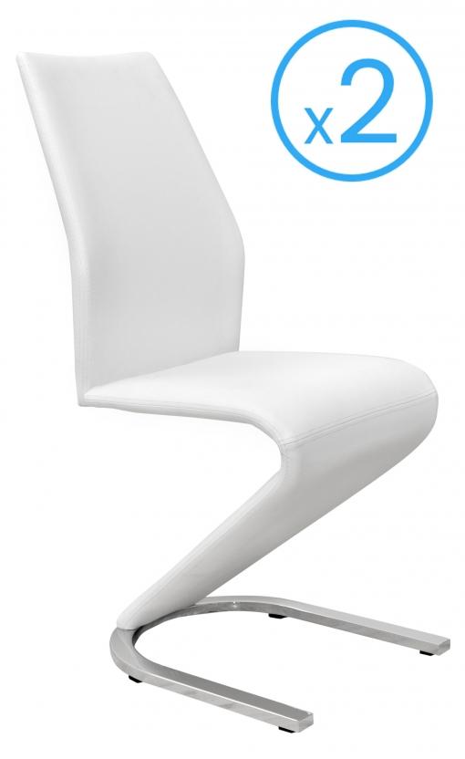 Pack 2 Sillas Muy Modernas Para Comedor O Salón Tapizadas En Color Blanco Y  Pata Cromada 43x62x100cm