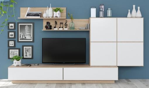 Mueble Para Salón Comedor Color Roble Canadian Y Blanco Brillo Modular  157x250x42 Cm