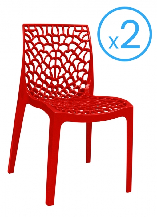 Pack 2 Sillas Diseño Original Para Terraza Jardín Patio O Bar Color Rojo Brillante