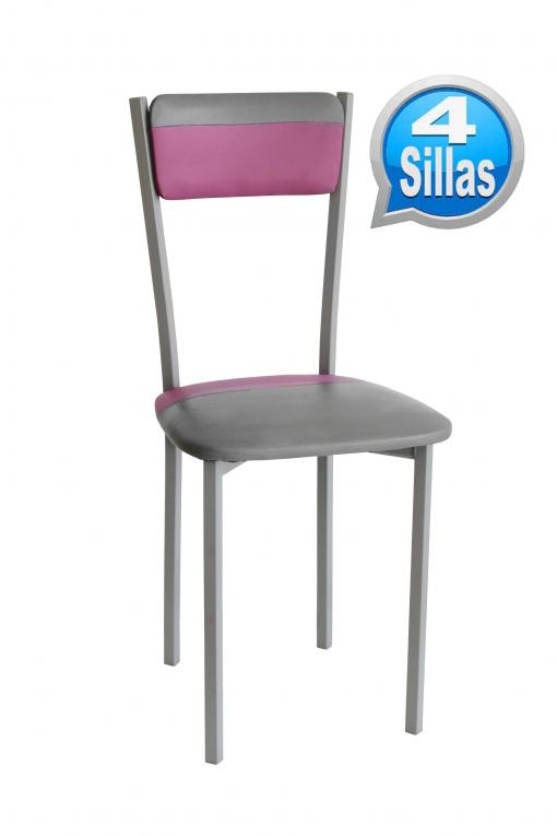 Pack 4 Sillas De Cocina De Polipiel, Color Combinado Rosa Y Gris ...