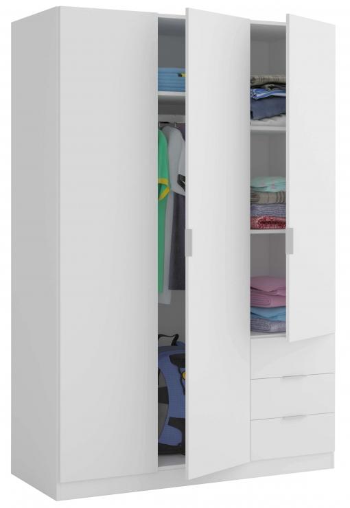 Armario dormitorio color blanco 3 puertas 3 cajones con - Armario dormitorio blanco ...