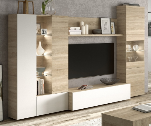Mueble Modular Salón Comedor Con Luz Led Diseño Moderno Color Blanco ...