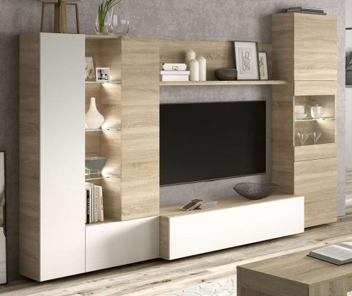 Mueble Modular Salón Comedor Con Luz Led Diseño Moderno Color Blanco Y  Roble 260x185x42 Cm