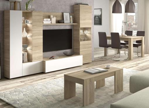 Conjunto Salón Comedor Con Luz Led (mueble Salón Modular + Mesa Comedor +  Mesa Centro)