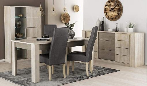 Pack Mobiliario Salón Comedor Diseño Moderno Vitrina Led Mesa Extensible  Aparador 4 Sillas