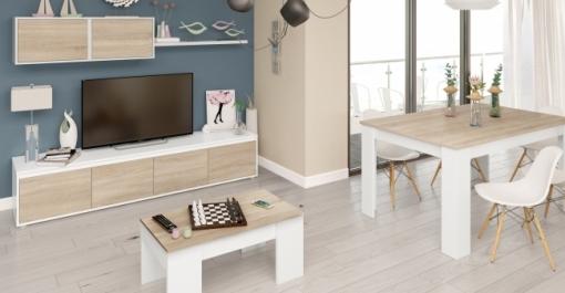 Pack Muebles Salón Comedor Completo Color Blanco Y Roble Estilo Nórdico  (mueble Salón + Mesa Comedor + Mesa Centro)