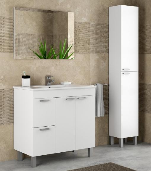 Muebles De Bano Columna.Pack Mobiliario Bano Mueble Con Lavamanos Ceramico Y Columna Color Blanco Brillo