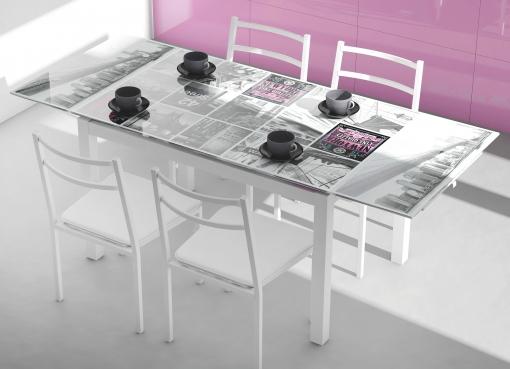 Pack Muebles Cocina Mesa Extensible Cristal Decorada New York Y 4 Sillas  Apilables Color Blanco Estructura Acero