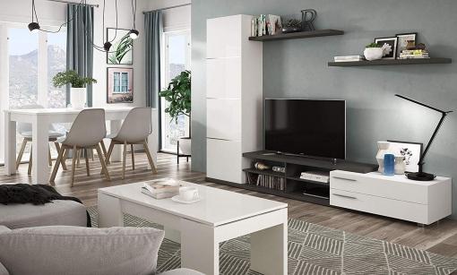 Pack Muebles Salón Completo Zadra Color Blanco Brillo (mueble Salón + Mesa  Centro + Mesa Comedor + 4 Sillas)