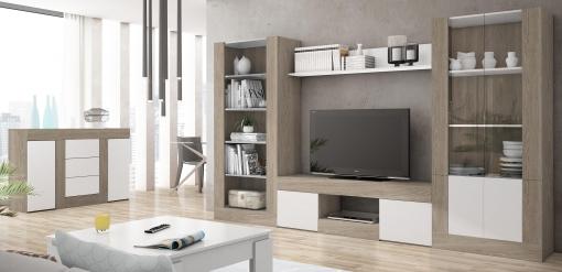 Pack Muebles Karla Salón Comedor Moderno (mesa Tv + Biblioteca + Vitrina +  Estante + Aparador)