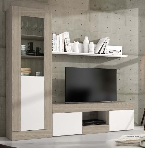Pack Muebles 3 Módulos Salón Karla Comedor Diseño Moderno (mesa Tv+vitrina  Alta+estante)