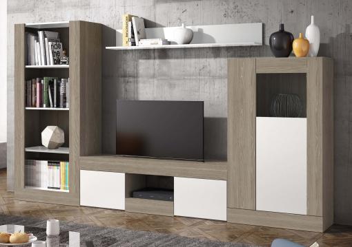 Pack Muebles Modulares Salón Comedor Karla 4 (mesa Tv + Vitrina Baja +  Librería + Estante)