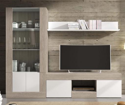Pack Muebles Modulares Karla Salón Comedor Moderno (mesa Tv + Vitrina Alta  + Estante)