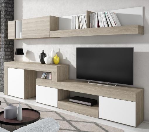 Mueble Salón Comedor Diseño Moderno Detalle Cristal Color Sable Y Blanco  295x164 Cm