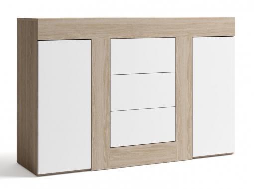 Aparador Salón Color Blanco Y Sable 3 Cajones 2 Puertas Mueble Comedor  140x92x40 Cm
