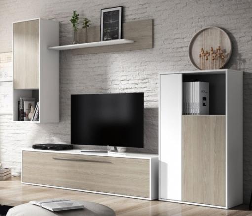 Mueble Salón Comedor Estilo Nórdico Diseño Escandinavo Modular Varios  Módulos 210x250 Cm