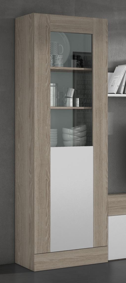 Vitrina Salón Comedor 1 Puerta Con Cristal Estilo Moderno Color Blanco Y  Sable 191x60x40cm