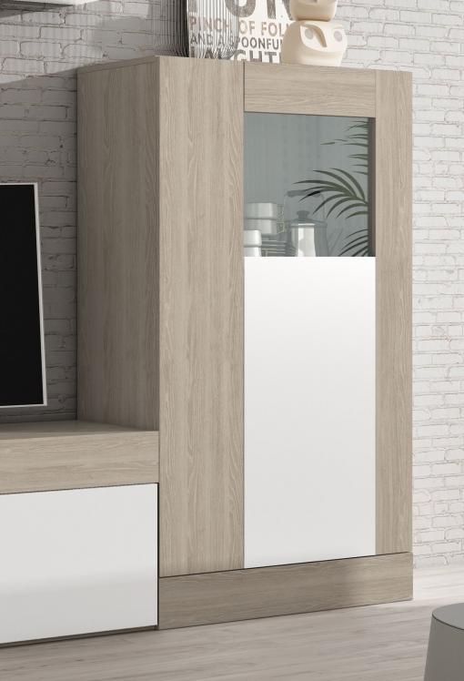 Vitrina Aparador Salón Comedor Color Blanco Y Sable 2 Puertas Detalle  Cristal 80x141x40 Cm