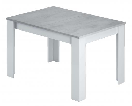Mesa Comedor Extensible Plutón Estilo Moderno Color Blanco Y Cemento  140-190x90x78 Cm