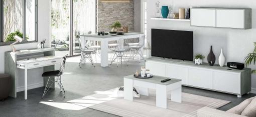 Pack Muebles Comedor Plutón Ii Estilo Industrial (mueble Modular+mesa  Centro+mesa Comedor+escritorio)