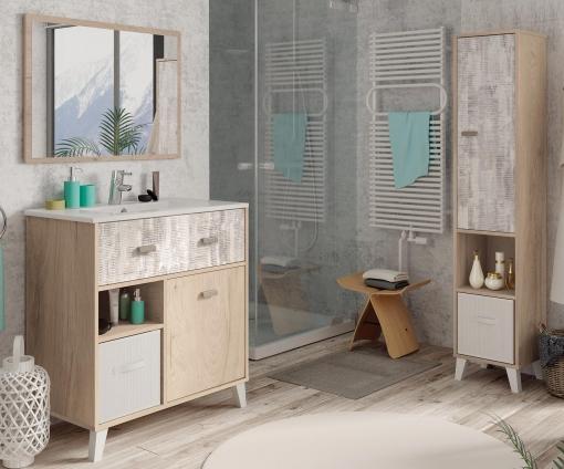 Muebles De Bano Columna.Pack Muebles Bano Anle Color Roble Y Collage Mueble Bano Espejo Columna Lavabo Ceramica