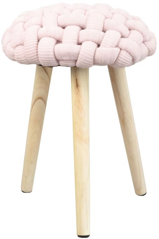 Taburete Braid Asiento Color Rosa Dormitorio Infantil Juvenil Patas Madera Maciza 36x46 Cm