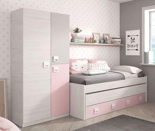 Pack dormitorio infantil juvenil cama nido con estante y - Dormitorio infantil blanco ...