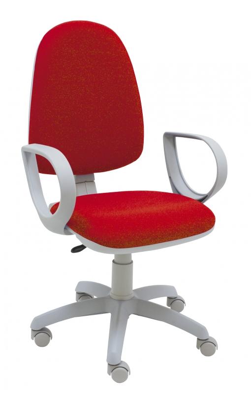 Silla Giratoria Oficina Torino Gris Color Rojo Ergonómica Con Brazos Y  Asiento Ajustable Con Contacto Permanente