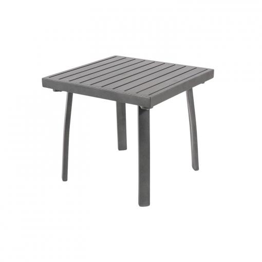 Mesa De Jardin Auxiliar Aluminio Reforzado Color Antracita Tamano 50x50x47 Cm
