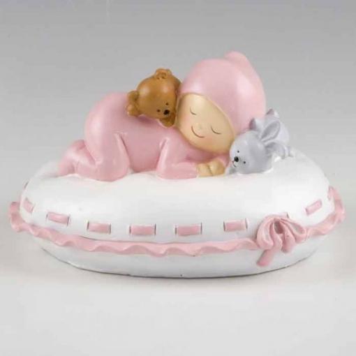 Huchas Para Bebes.Figura Para Tarta Y Hucha Bebe Sobre Almohada Rosa