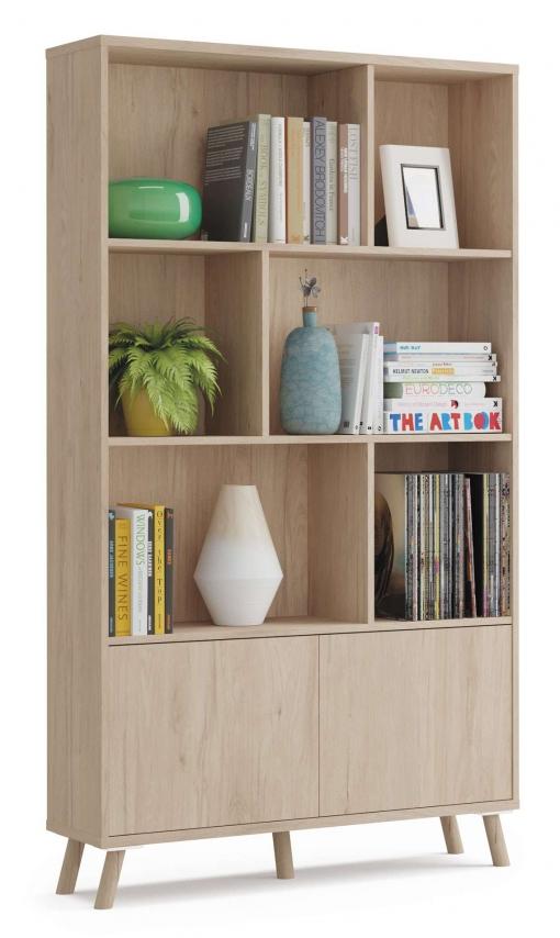 Salon Comedor Nordico.Libreria Alde Salon Comedor Nordico Color Roble 2 Puertas Push 6 Huecos 100x30x180