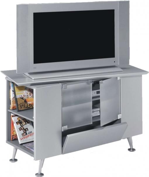 Mueble Tv Estilo Retro Color Gris Salon Mesa Auxiliar Televisor Contemporaneo 94x60x53
