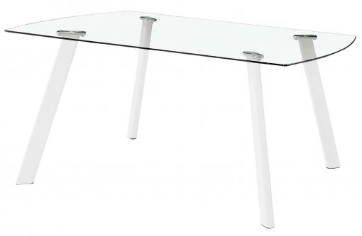 Mesa Fija Cristal Vidrio Transparente Comedor Glass Salón Patas Blancas Diseño Moderno 120x80x76