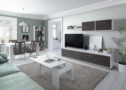 Conjunto Salon Industrial Mueble Modular Tv Mesa Centro Mesa Comedor  Estanteria Blanco Oxido
