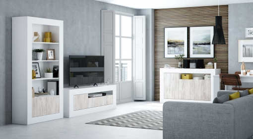 Conjunto Muebles Salon Baltico Estilo Moderno Comedor Mesa Tv Aparador  Libreria Estanteria Blanco