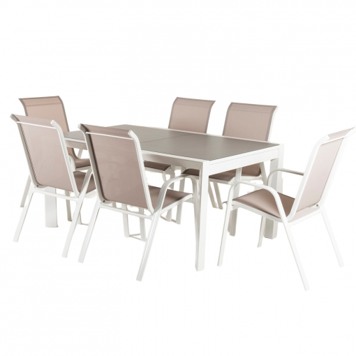 Conjunto Para Terraza Mesa Extensible 160 210 Y 6 Sillones Apilables Aluminio Reforzado Blanco Textilene Taupé Jaspeado 6 Plazas Portes