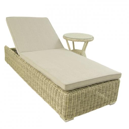 Conjunto Muebles Jardin Tumbona Reclinable Y Mesa Auxiliar Blanco Envejecido Aluminio Y Rattan Sintetico Portes Gratis
