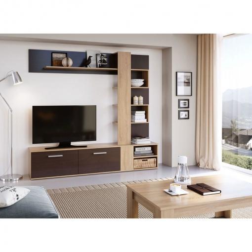 Mueble Salon Tv Moderno Madera Y Wengue Comedor Ref-251