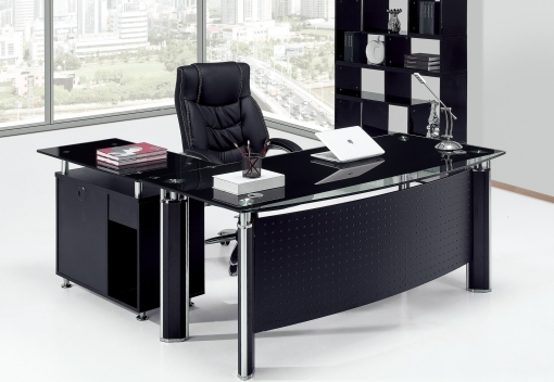 Mesa Oficina Premium Mueble A Derecha, Cristal, 160x80 Cms