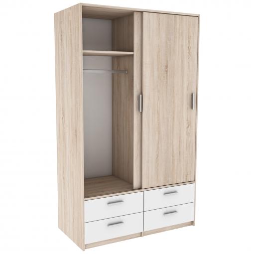 Armario puertas correderas y cajones color blanco y roble for Armario puertas correderas 100 cm
