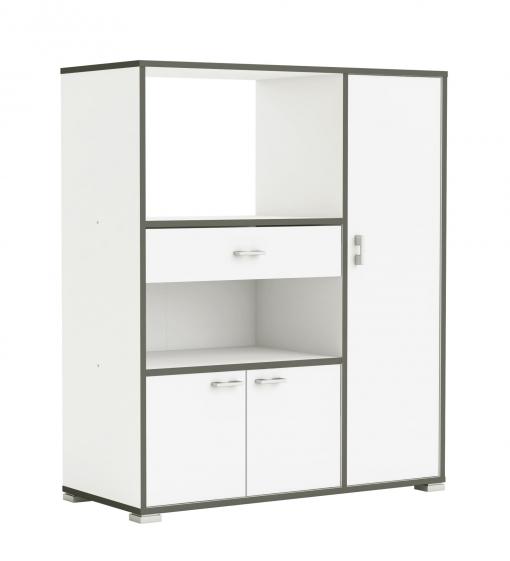 Mueble Auxiliar Para Cocina Con Tres Puertas Y Un Cajón Color Blanco y Gris  112x90 Cm
