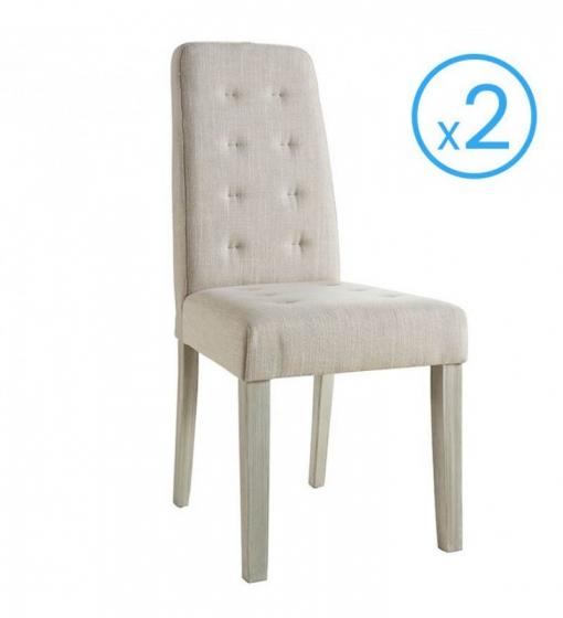 Pack 2 sillas para comedor tapizadas en tela color arena acolchadas