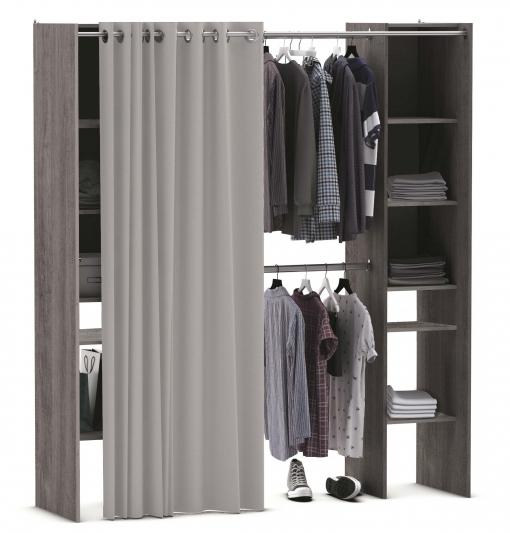 Kit armario extensible vestidor armario ropero con cortina for Cortinas para armarios empotrados