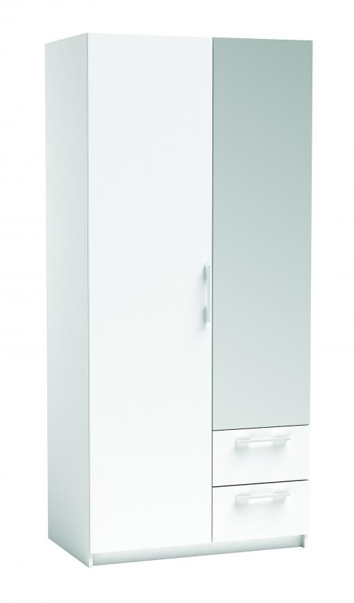 Armario blanco con espejo 2 puertas 2 cajones 203x39x55 cm for Armario blanco carrefour
