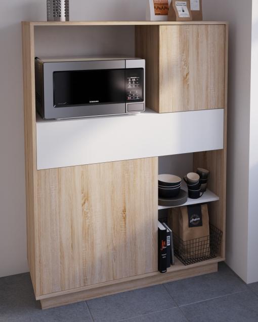 Mueble armario microondas cocina color roble y blanco puertas y caj n 137x101 las mejores - Mueble microondas carrefour ...