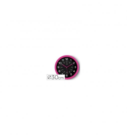 Reloj Cep De Pared Plastico Oficina Redondo 30 Cm De Diametro Color Rosa Y Esfera Color Negro