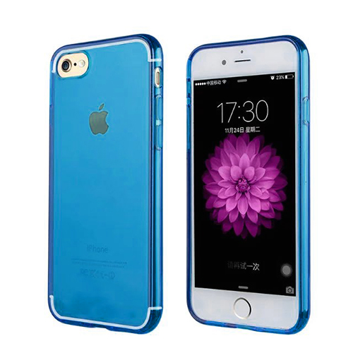 Donkeyphone - Funda Carcasa De Silicona Azul Para Iphone 7 Gel Tpu Lisa Transparente