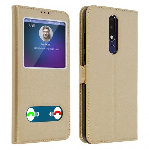 lista nueva amplia selección de colores auténtico Funda Nokia 3.1 Plus Con Doble Ventana Carcasa De Silicona - Oro