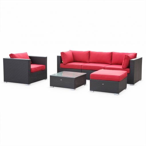 Muebles de jardin rattan sintetico negro rojo 5 plazas caligari las mejores ofertas de - Muebles de rattan sintetico ...
