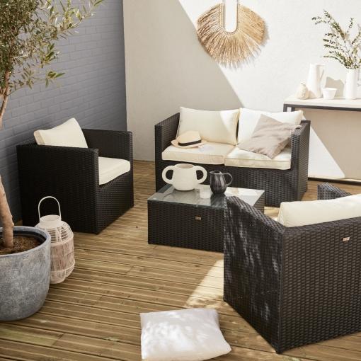 cda1da15d7bf Muebles De Jardin, Rattan Sintetico, Negro Crudo, 4 Plazas | Anzio ...